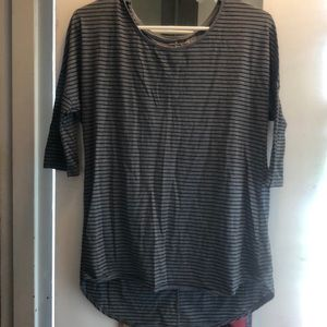 Grey and black striped AE jegging top